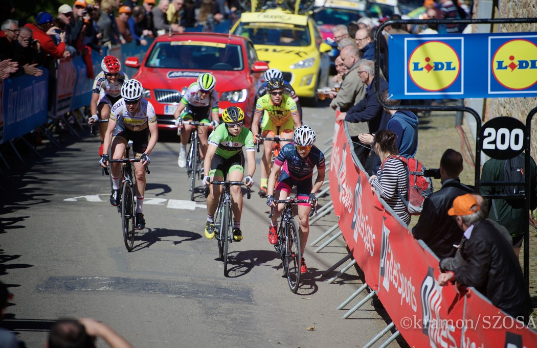 race leaders up the infamous Mur de Huy (1300m/9.8%)
