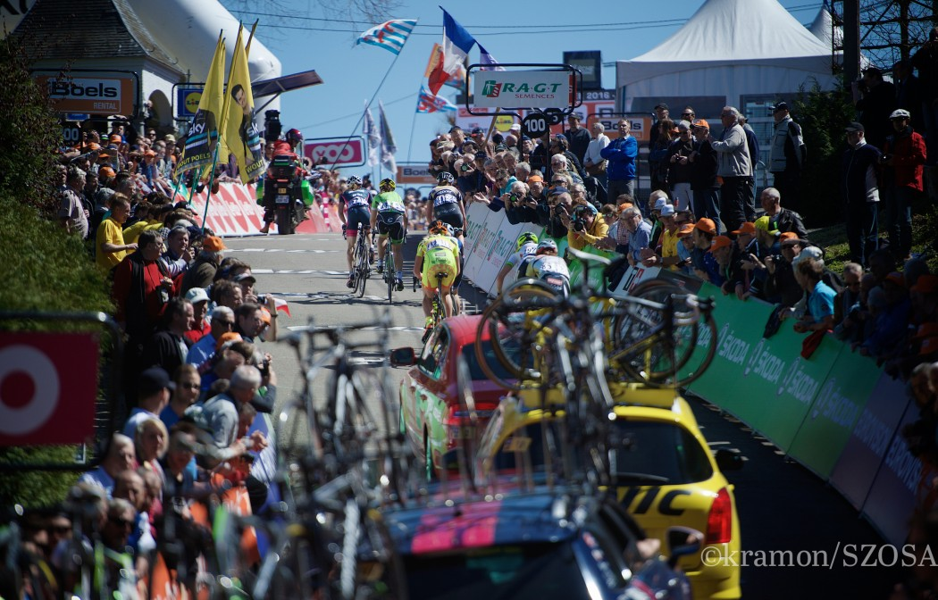 Up the infamous Mur de Huy (1300m/9.8%)