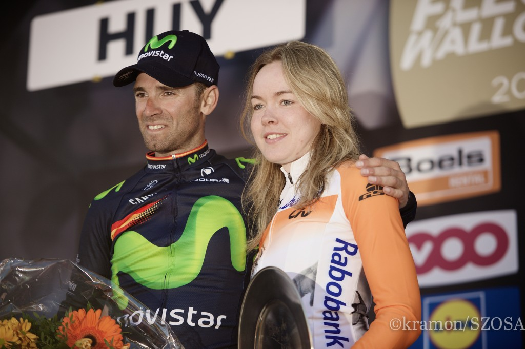 Same shared podium as the previous year: FlËche 2016 winners Anna van der Breggen (NLD/Rabobank-Liv) & Alejandro Valverde (ESP/Movistar) FlËche Wallonne 2016