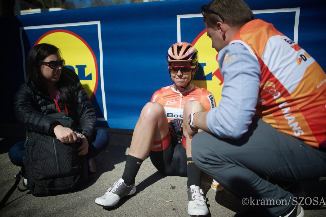 A very disappointed Evelyn Stevens (USA/Boels-Dolmans) immediately after finishing 2nd in the Women's FlËche Wallonne 2016