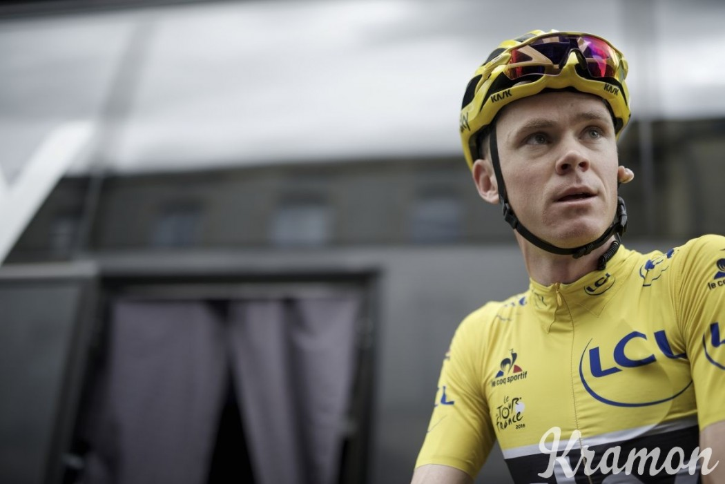 Chris Froome na starcie 11. etapu TdF 2016 z Carcassonne do Montpellier (162 km)