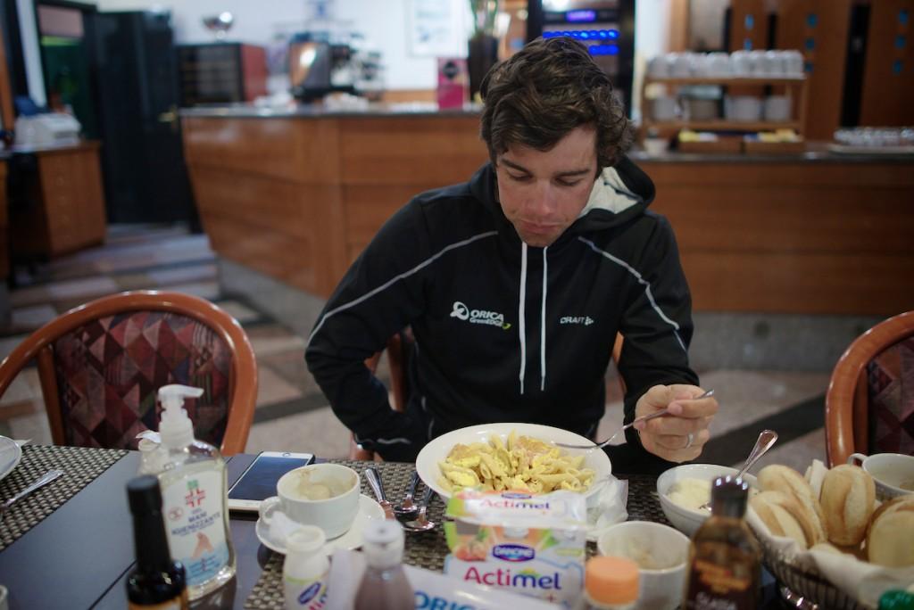 Michael Matthews (AUS/Orica-GreenEDGE) at the breakfast table: carb-loading pasta & eggs 106th Milano - San Remo 2015
